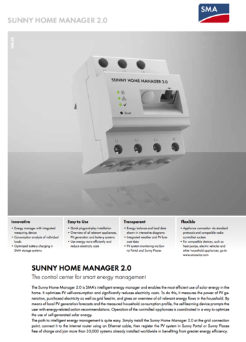 SMA Home Manager 2.0 + control enchufe Edimax 3kW