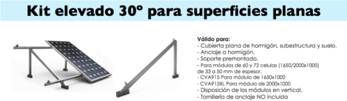 Kit estructura a 30º para superficies planas, kit solar