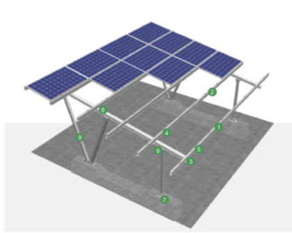 Kit estructura parking solar para 2 plazas sin doble V,  extensible