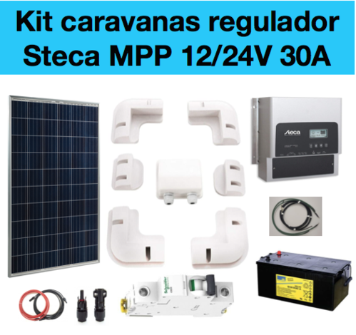 Kit solar caravana regulador Steca 3020 MPP y placa