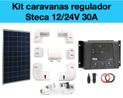 Kit solar caravana regulador Steca 3030 y placa solar